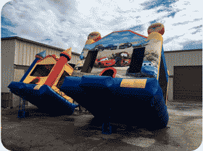 Cleaning a bounce house before rental in Miami
