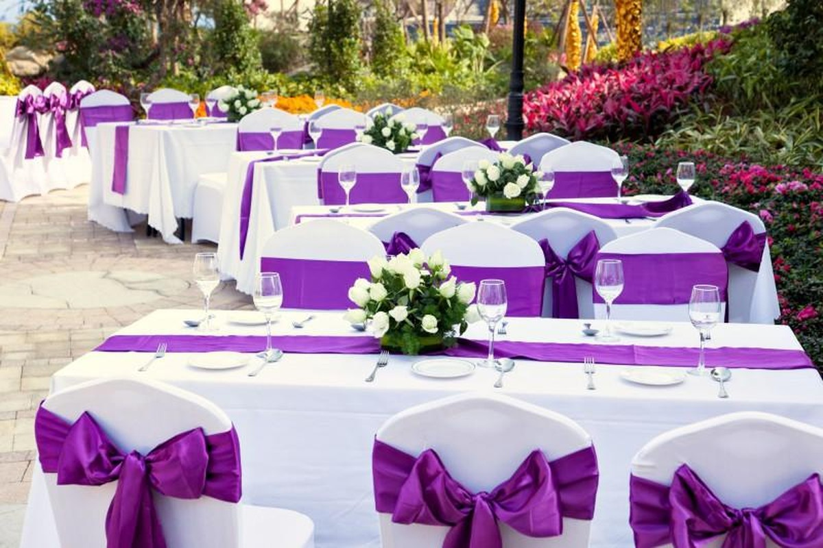 beautiful tables with purple decor